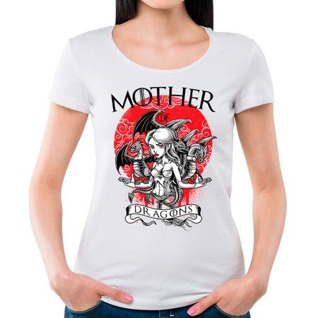 Camiseta Feminina Mother Of Dragons P - BRANCO