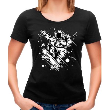 Camiseta Feminina Skate Space P - PRETO