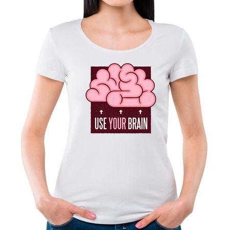 Camiseta Feminina Use Seu Cérebro P - BRANCO