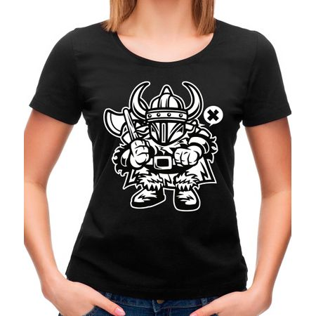Camiseta Feminina Viking P - PRETO