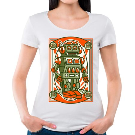 Camiseta Feminina Vintage Robot P - BRANCO