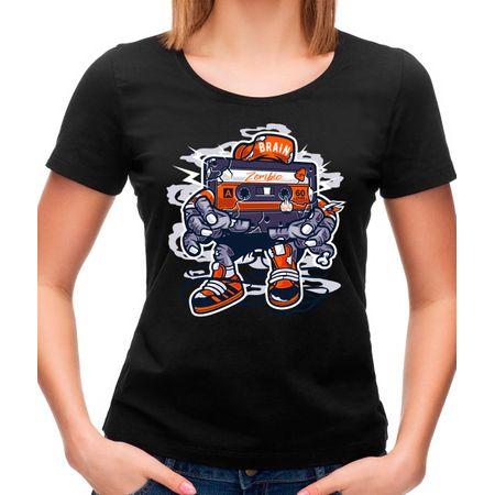 Camiseta Feminina Zombie Cassette P - PRETO