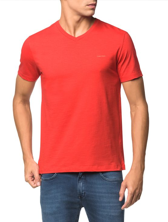 Camiseta Flame Slim Calvin Klein - Vermelho - M
