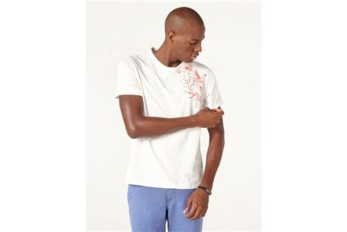 Camiseta Flor no Ombro - Off White - G