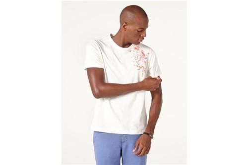 Camiseta Flor no Ombro - Off White - M