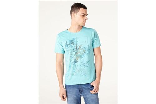 Camiseta Floral Stone - Turquesa - M