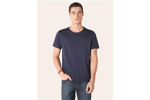 Camiseta Gola Careca de Algodão Pima - Azul - P