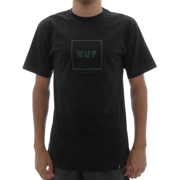 Camiseta Huf Box Logo Black Green Camiseta Huf Box Logo Black/Green (M)