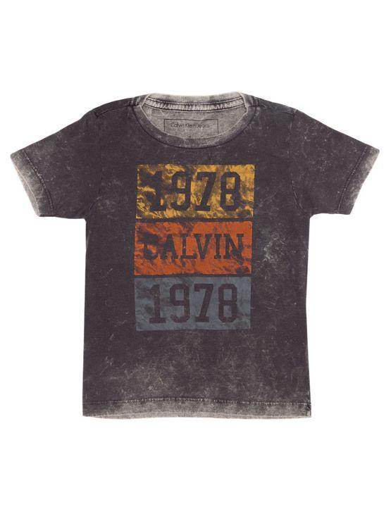 Camiseta Infantil Calvin Klein Jeans Estampa Frontal Grafite - 6