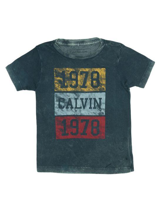 Camiseta Infantil Calvin Klein Jeans Estampa Frontal Marinho - 4