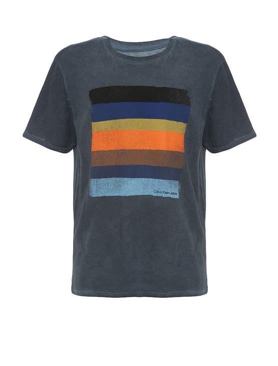 Camiseta Infantil Calvin Klein Jeans Estampa Listrada Marinho - 8