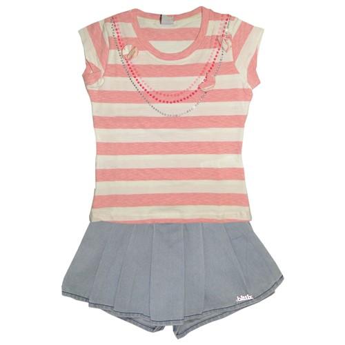Camiseta Infantil Listrada Rosa e Short-Saia Infantil Jeans Claro com Pregas Conj.2