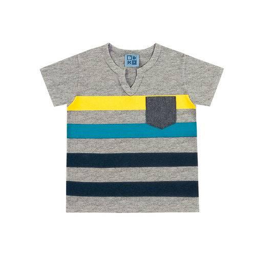 Camiseta Infantil Masculina Listrada Gola V Cinza Ddk