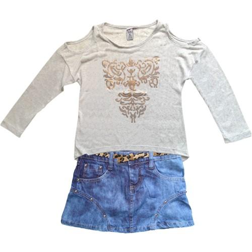 Camiseta Infantil Menina Manga Longa com Ombros Vazados e Minissaia Jeans Cinto Oncinha Conjunto 6