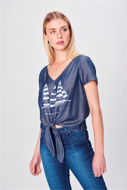 Camiseta Jeans com Amarração Feminina