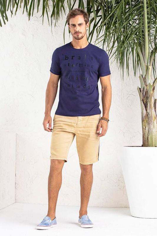 Camiseta Lado Avesso Brainstorming Azul Tam. G