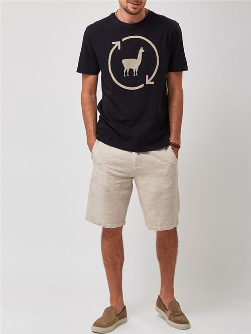 Camiseta Lhama Eco Preta Tamanho M