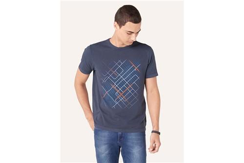 Camiseta Linhas Geométricas - Marinho - GG