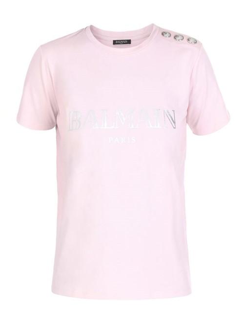Camiseta Logo Botões Rosa e Prateada Tamanho 44
