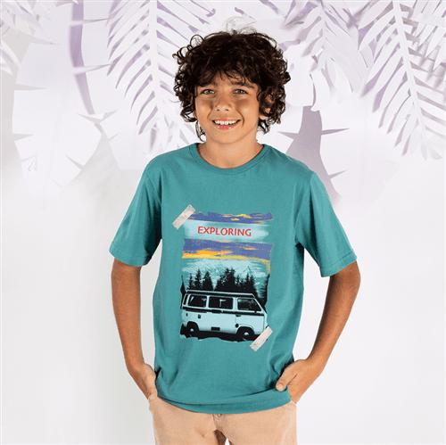 Camiseta M/c Avulso Verde Botton/12 e 14