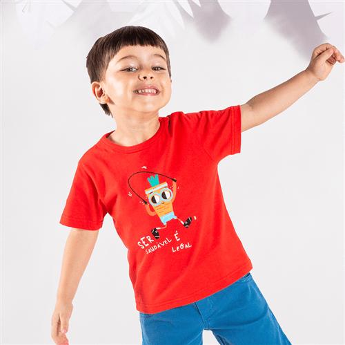 Camiseta M/c Brincadeiras do Bem Vermelho/1 e 2