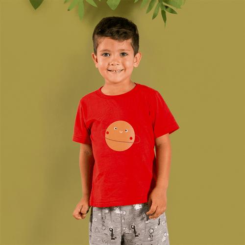 Camiseta M/c Espacial Vermelho/1 e 2