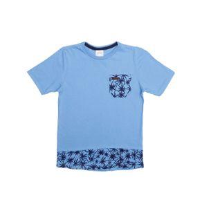 Camiseta Manga Curta Alongada Infantil para Menino - Azul 10