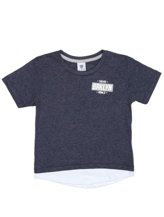 Camiseta Manga Curta Alongada Infantil para Menino - Azul