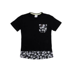 Camiseta Manga Curta Alongada Infantil para Menino - Preto 8