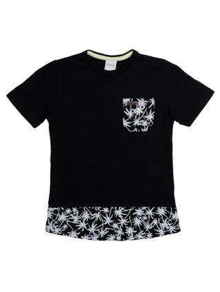 Camiseta Manga Curta Alongada Infantil para Menino - Preto
