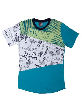 Camiseta Manga Curta Alongada Juvenil para Menino - Azul