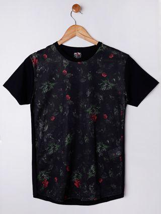 Camiseta Manga Curta Alongada Juvenil para Menino - Preto