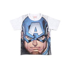 Camiseta Manga Curta Avengers Infantil para Menino - Azul/cinza 10