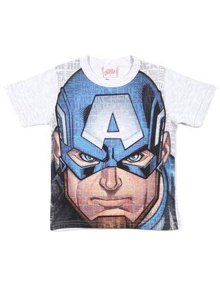 Camiseta Manga Curta Avengers Infantil para Menino - Azul/cinza