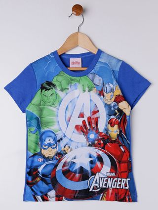 Camiseta Manga Curta Avengers Infantil para Menino - Azul