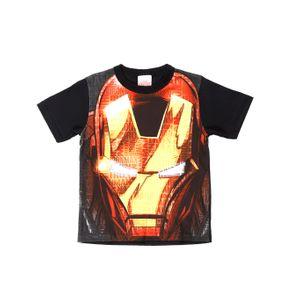 Camiseta Manga Curta Avengers Infantil para Menino - Preto/laranja 10
