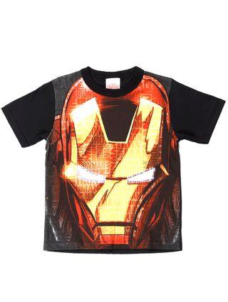 Camiseta Manga Curta Avengers Infantil para Menino - Preto/laranja