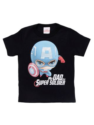 Camiseta Manga Curta Avengers Infantil para Menino - Preto