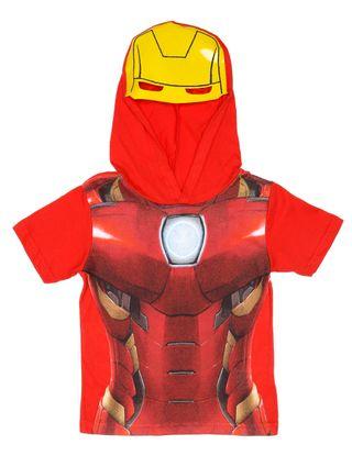 Camiseta Manga Curta Avengers Infantil para Menino - Vermelho