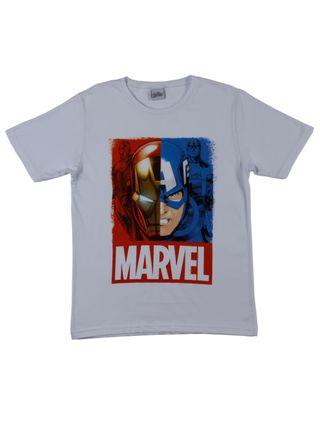 Camiseta Manga Curta Avengers Juvenil para Menino - Branco