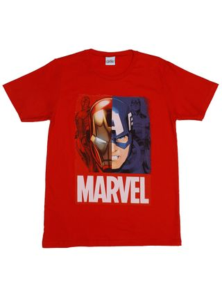 Camiseta Manga Curta Avengers Juvenil para Menino - Vermelho