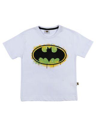 Camiseta Manga Curta Batman Infantil para Menino - Branco