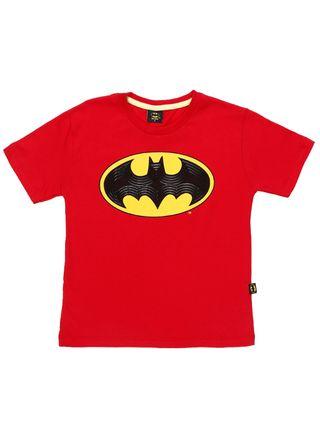 Camiseta Manga Curta Batman Infantil para Menino - Vermelho