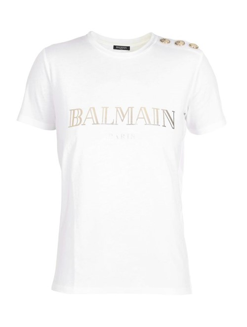 Camiseta Manga Curta Branca e Dourada Tamanho 36