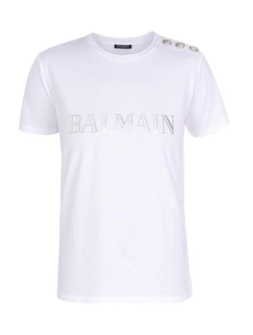 Camiseta Manga Curta Branca e Prateada Tamanho 44