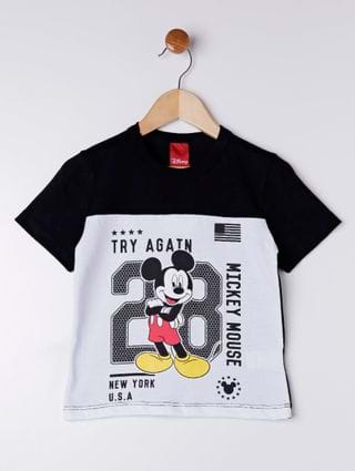 Camiseta Manga Curta Disney Infantil para Menino - Branco/preto