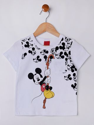 Camiseta Manga Curta Disney Infantil para Menino - Branco