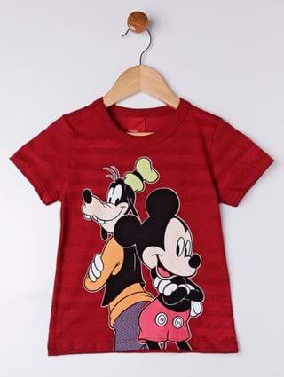 Camiseta Manga Curta Disney Infantil para Menino - Vermelho