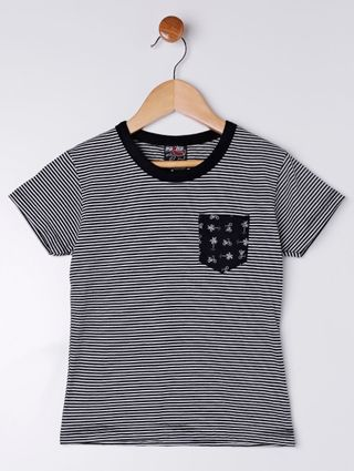 Camiseta Manga Curta Infantil para Bebê Menino - Preto