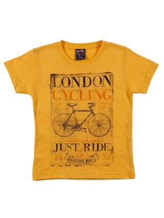 Camiseta Manga Curta Infantil para Menino - Amarelo